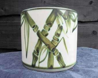 Vintage Marks and Spencer 'St Michael 5.9'' Hand Painted Stoneware Planter pattern : Bamboo /Hand Painted Bamboo Planter