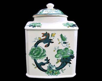 Mason's Ironstone China Chartreuse Pattern Tea Caddy 1920's .Vintage Ceramic Tea Caddy Hand Painted.Floral Tea Caddy Made in England