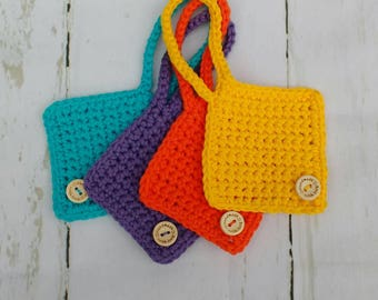 Multi coloured bright cotton crochet suitcase luggage tags / travel accessories