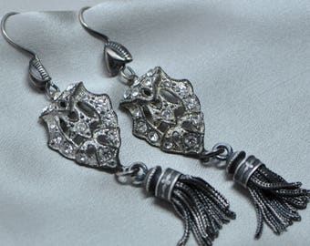 French Warrior and Lace - Antique French Solid Silver Tassels & 1940's Paste with Sterling Silver Ear Wires Medieval Themed Dangle Earrings