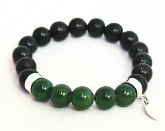 Mala Bracelet, Jade, Prayer beads, Spiritual gift, sterling silver, 925s, ebony wood, dark wood, elastic.