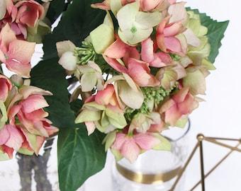 "Luxury Silk Hydrangea with Seeds Stem in Green Pink 19"" Tall"
