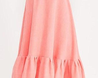 Linen pink coral boho skirt.Long ruffle  lower part  skirt
