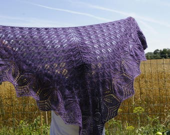 Purple shawl, mohair, knitted by hand