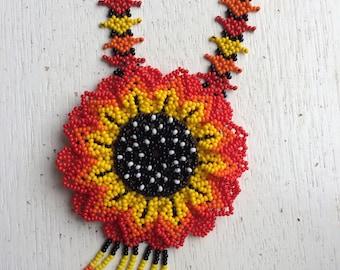 Vistoso Necklace - Mexican Huichol Beaded Necklace