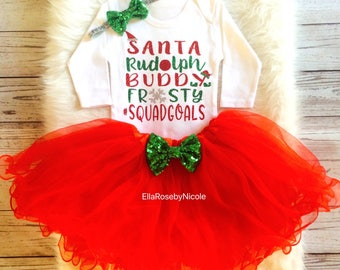 Christmas Baby Girl Outfit / Santa Rudolph Buddy Frosty #squadgoals / Baby Girl Christmas Bodysuit / Christmas Tutu / Christmas Outfit Girl