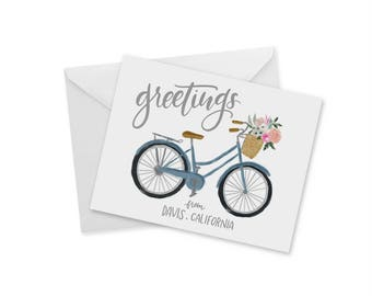 Greetings From Davis, Bike, Florals, Blank Notecard and Envelope, Davis California Souvenir, Sentimental Gift, For Her, For Him, 4.25x 5.5