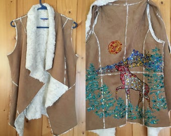 1. 'Elk Vest' Man Made materials. Hand painted . Rhinestone Embellishments