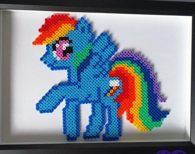 Rainbow Dash Perler, My Little Pony, 8 bit bead sprite pixel art, MLP, friendship is magic, gifts for children, blue pony, rainbow, hama