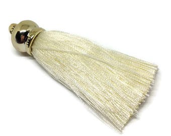 10 x Cream Tassels with Gold Caps - Gold Tassel Cap with Ring