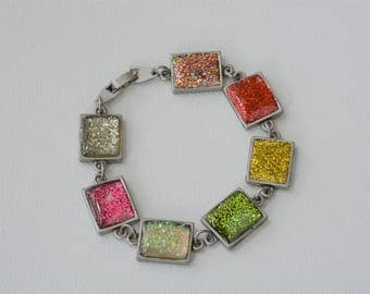 Antique Silver Glittery Bracelet