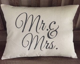 Hand Painted Mr. & Mrs. Throw Pillow-Wedding Gift-Bridal Shower Gift-Anniversary-Decorative PIllow-Rustic Chic