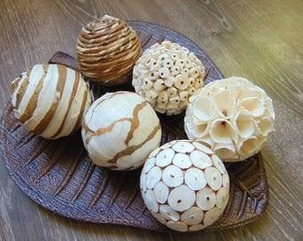 Set of 6 Decorative Balls, Bowl Fillers, Wedding Table Decor, Rustic decor, Cottage Style,Eco Friendly Decor, Natural Decor