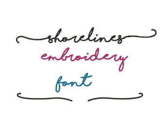 5 Sizes**Shorelines Embroidery Font Embroidery design- 8 formats machine embroidery design - Instant Download machine embroidery pattern