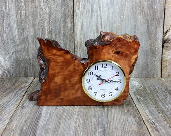 Redwood Burl Clock Table Shelf Mantle Desk Office Gifts for Men Sitting Wood #P