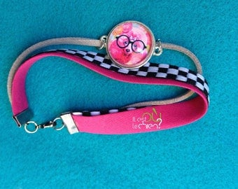 colorful fabric, Visual poodle eyeglass or Sunglass strap