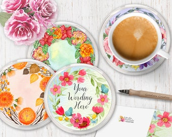 Gifts for Coworkers - Name Coaster - Personalised Gifts - Gifts for Women - Girlfriend Gift -  Set of Coasters - Housewarming Gift - Set 2