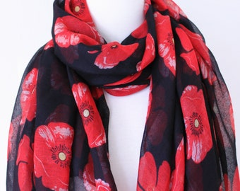 Soft Long Wrap Scarves/Poppy Flower Print Scarf/Black and Red Flower Scarf/Red Floral Scarf/Spring Summer Scarf/Lightweight Women Scarves