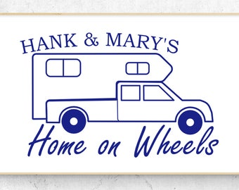 """Truck Camper Personalized Home on Wheels Vinyl Decal (6"""" x 3.8"""")"""