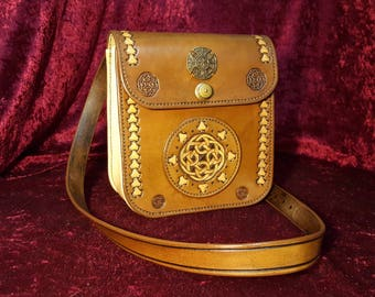 """Celtic""-inspired leather bag"