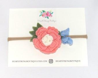 Baby Flower Headband, Baby felt headband, felt flower headband, Baby Felt flower headband, Baby flower felt, Blush flower headband clip