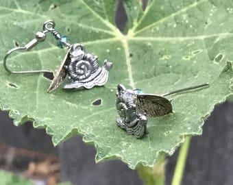 Silver Snail with Quartz & Swarovski Crystal Earrings