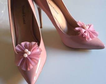 Shoe Clip Pink Chiffon flower