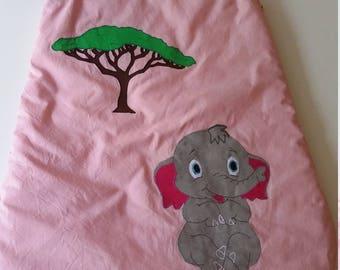 Sleeping bag / sleeping bag with applied pink baby elephant