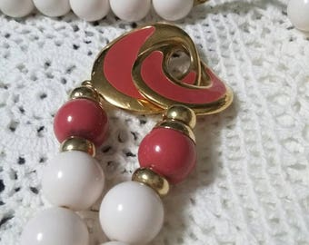 Napier long bead and enamel necklace
