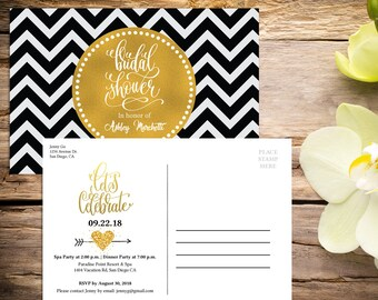 Bridal Shower Postcard Invitation with Setup, Bridal Shower, Floral Bridal Shower, Shower Invitation, Printable Invitation, Wedding Shower