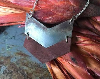 Industrial Recycled Metal Chevron Necklace Rusty Red Leather
