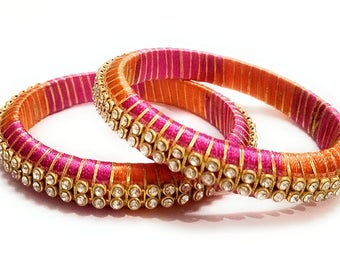 Pink and Orange Silk Thread Bangle