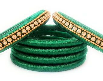 Green Silk Thread Bangle Set