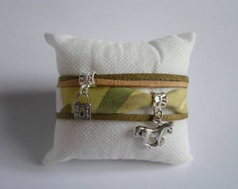 Green suede and fabric bracelet