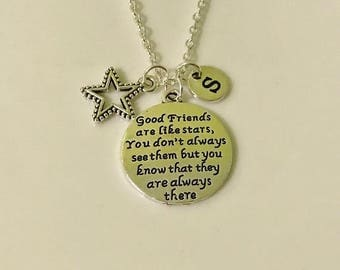 Friends Necklace, Gift for Friend, Good friends are like stars You don't always see them but know they are always there , friendship gift