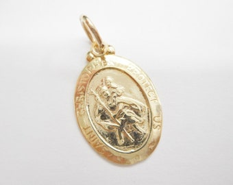 St. Christopher, Gold Charm, Protect Us Charm, Vintage Charm, Genuine 10K Yellow Gold St Christopher Protect Us Charm Pendant #4271