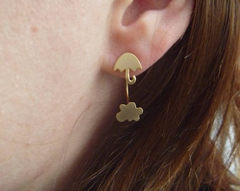 Autumn clouds and umbrella: Earrings