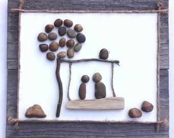 Two on a Swing.  Pebble art,  stones,  handmade,  wall art,  home decor,  love,  bird,  tree,  romantic, nature,  natural