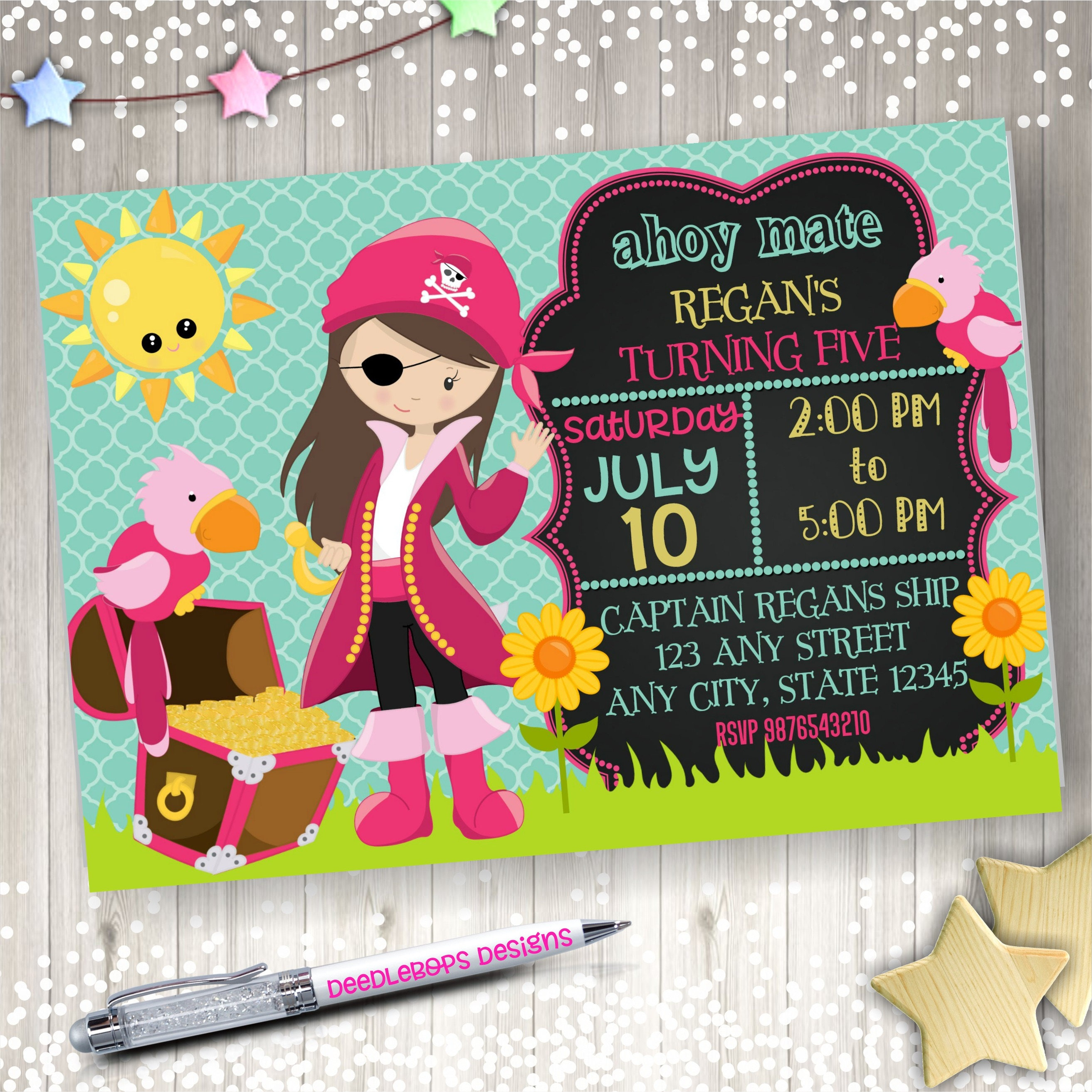 Girl Pirate Party Invitation - Pirate Invitations for Girls - Girl ...
