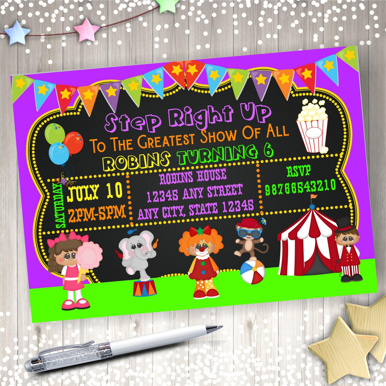 Circus Birthday Invitation- Circus Invitation- Carnival Invitation ...