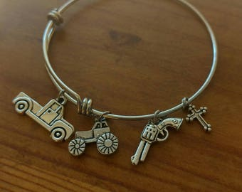 Country Girl Charm Bangle Bracelet