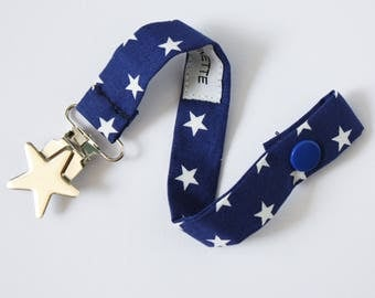 Pacifier clip in Royal blue fabric white stars