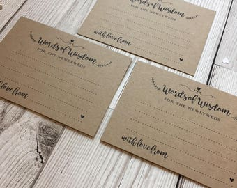 A7 Words of Wisdom - Wedding Table Cards