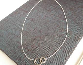 Double Circle Necklace, Infinity Necklace, Interlocking Circles, Eternity Necklace, Silver Necklace, Circle Necklace, Layering Necklace,
