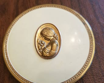 Vintage Enameled Cameo Mirror/Powder Compact by Majestic, Creamy Beige Enameled Compact with Gold Cameo Medallion