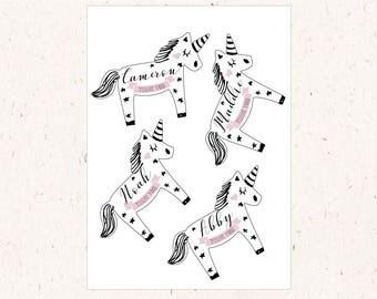 Unicorn shape custom favor tags, DIY cut unicorn shape party tags