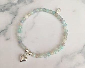 Sterling Silver bracelet with Light Aqua Stripped Agate beads and Medium Heart charm