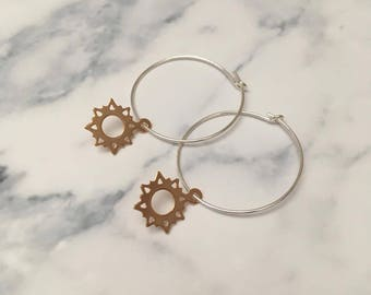 Sterling Silver hoop earrings with Rose Gold Sunshine charms