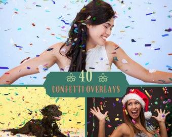 40 Confetti Photoshop Overlays, Confetti Overlays, Photoshop Overlays, Birthday Overlays, Wedding Overlay, Photo Effect, Digital Backdrop