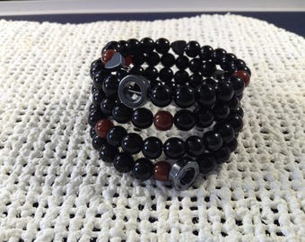Black and brown memory wire bracelet